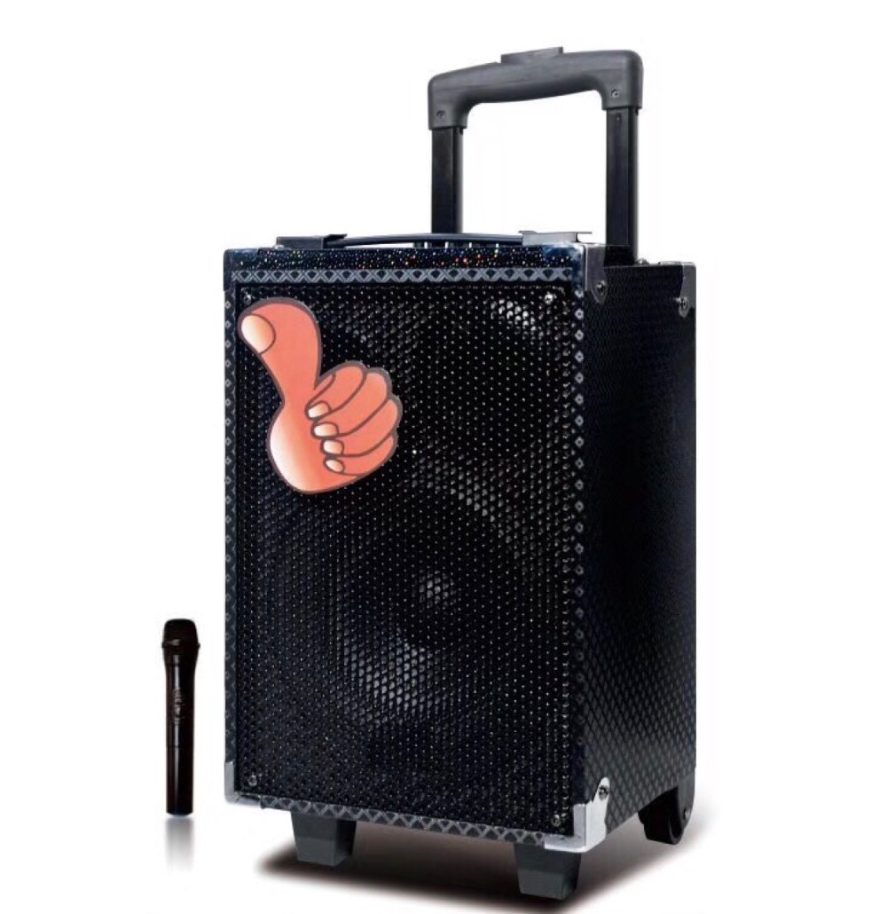 8 Super Bass Subwoofer Outdoor Karaoke Woody Speaker With 1 Wireless Microphone Bluetooth TF USB Function Rechargeable
