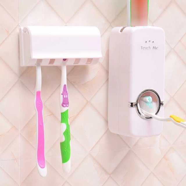 Bathroom Accessories Set Toothbrush Holder Automatic Toothpaste Dispenser Holder Toothbrush Wall Mount Rack Bathroom Tools Set 2