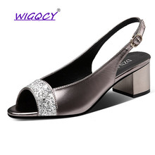 купить Bling sandals women 2019 Summer Fashion Peep Toe Buckle Strap Square heel High heels Open toe pumps women shoes Party shoes дешево