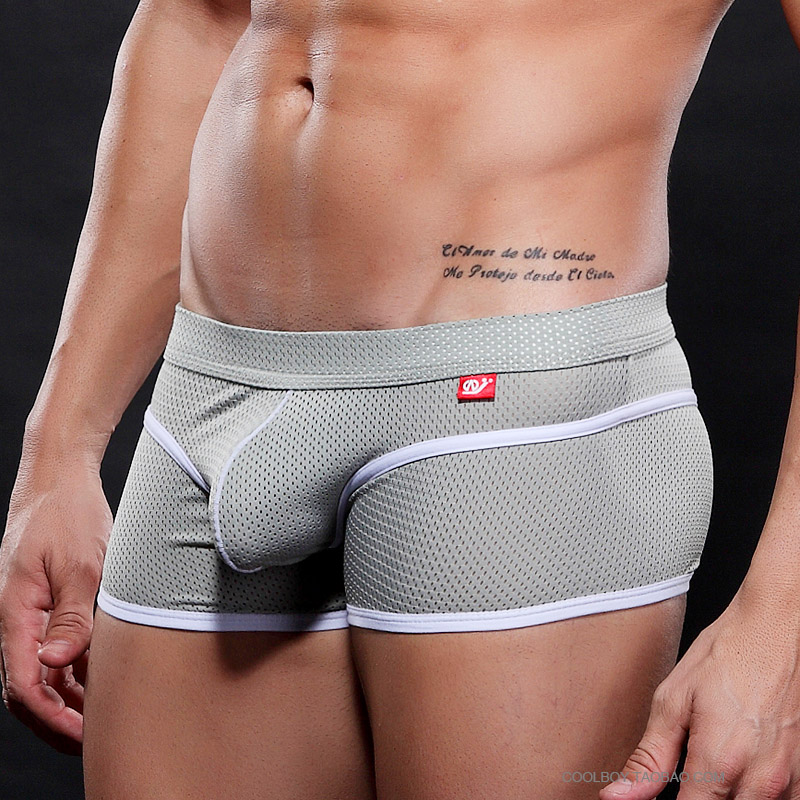 WJ Men's Quick Dry Underwear Low-rise Sexy Boxers Pouch Mesh Breathable Shorts 6 Colors S M L XL