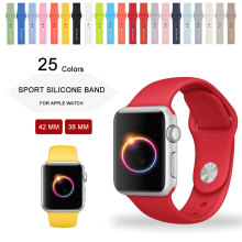 25 Colors 42MM 38MM Silicone Sport Band With Connector Adapter For Apple Watch Band 42mm 38mm Strap For iWatch Sport Buckle Band
