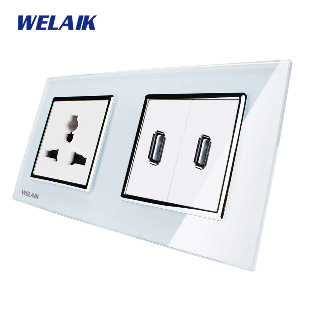 WELAIK  Glass Panel Wall Multifunction USB Socket Wall Outlet White Black Multifunction power outlet AC110~250V A28MU82USW 6l2 v panel ac voltmeter black white 0 450v