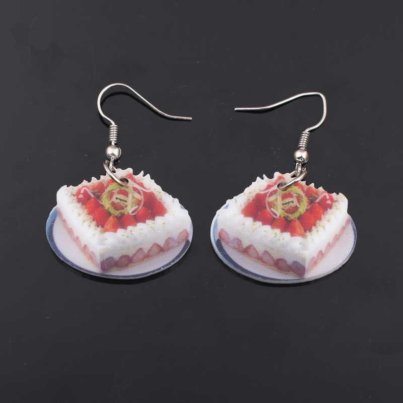 1 par brincos de morango bolo de alimentos coloridos new 2014 bonito encantador estilo acrílico impressão projeto verão para meninas jóias