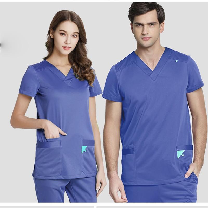 2019Infinity Stretch Rib Knit Scrubs Medical Uniforms Full Elastic Drawstring Medical Clothes Spot Set Women Men Top&Pant