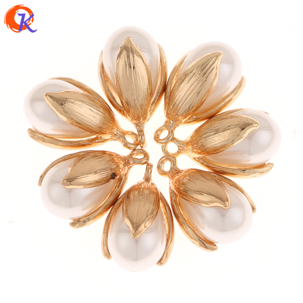 Cordial Design 50Pcs 11*20MM Jewelry Accessories/Earrings Making/Flower With Pearl/Tulip Shape/DIY/Hand Made/Earring Findings