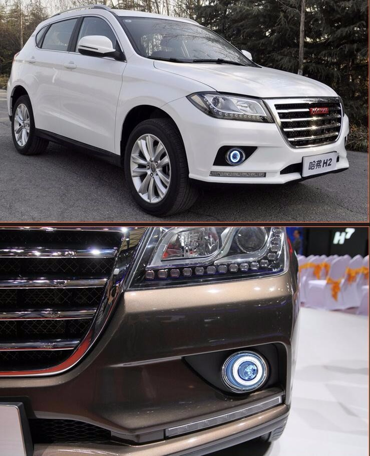 eOsuns Innovative COB angel eye led daytime running light DRL + halo Fog lamp + Projector Lens for Great wall H2 Hover 2
