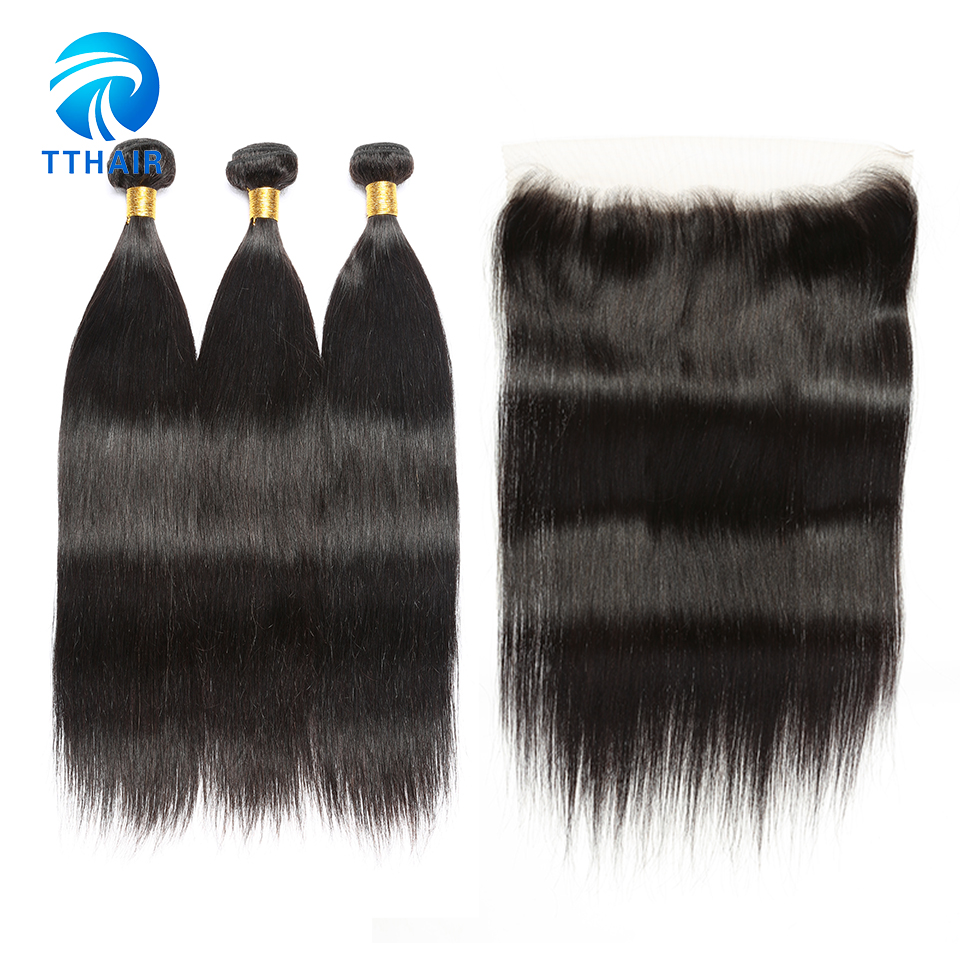 Straight Hair Bundles With Frontal TTHAIR Brazilian Hair Weave Bundles Human Hair 3 Bundles With Frontal