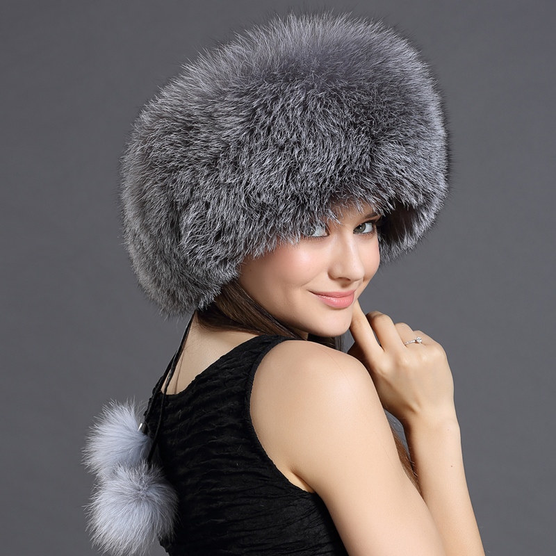 Women's Winter Fur Bomber Hats with Pompom Real Leather Top Patchwork Silver Fox Fur Russian Hats Headwear Ushanka Bomber Hats