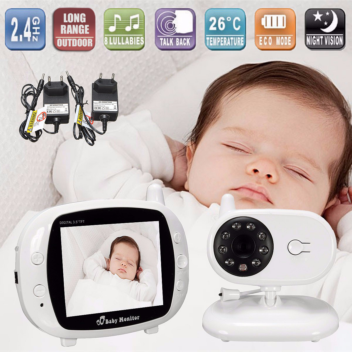 2.4G Wireless Digital 3.5 LCD Baby Monitor Wifi Camera Audio Talk Video Night Vision High Resolution Home Security