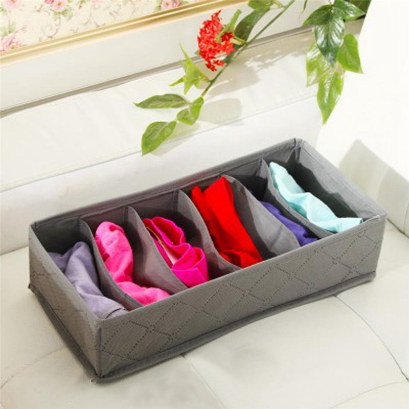 3Pc/Set Foldable Scarfs Socks Storage Box Underwear Bra Organizer Drawer Closet Organizers Boxes Bamboo Charcoal Packing Grey