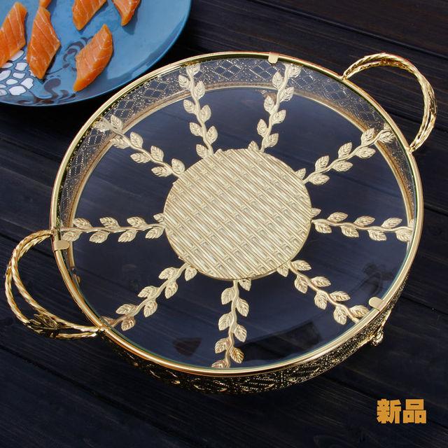 US $59.99 |Runden platz stilvolle silber gold metall obst siebkorb mit  glasplatte dessert snack gebäck halter display tisch deco 896A in Runden  platz ...