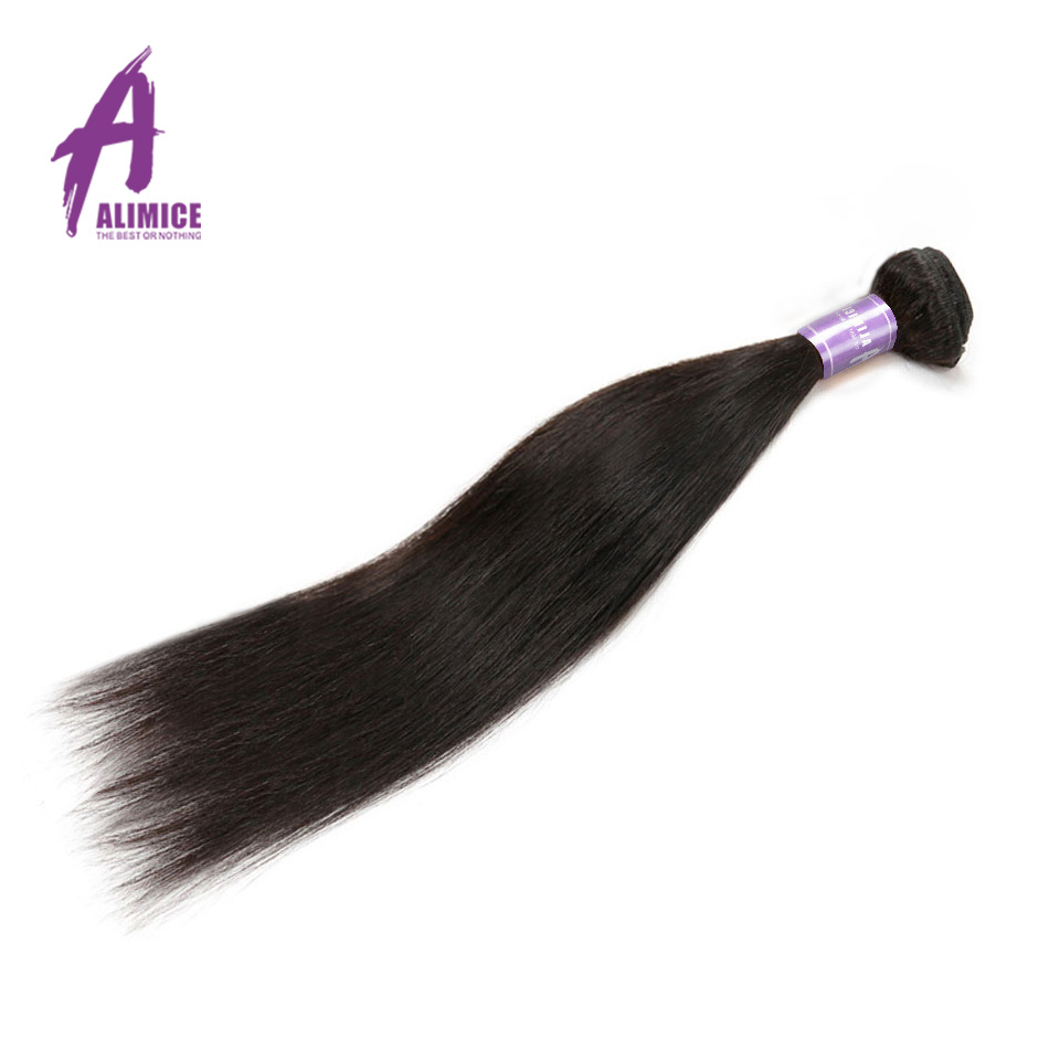 Malaysian Straight Human Hair Weave Bundles Alimice Non-Remy Hair Weaving 100% Hair Extensions 100g Double Weft Natural Color ...