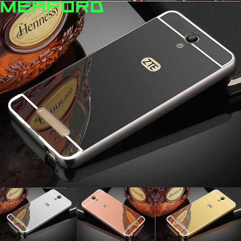 For Fundas ZTE Blade A510 Case Aluminum Metal Bumper Mirror Plastic Back Phone Cover Case For ZTE Blade A510 A 510 Capa Coque