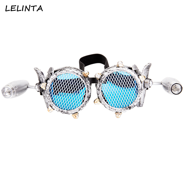 LELINTA Blue Lenses Glasses Steampunk Goggles With Two Lights Rave Festival Party EDM Glasses Cosplay Punk Vintage Glass Eyewear