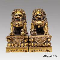 Big Large Pair BRASS Chinese Lion Foo Dog Statue Figure Sculpture Black yellow 10H Decoration 100% Brass BRASS