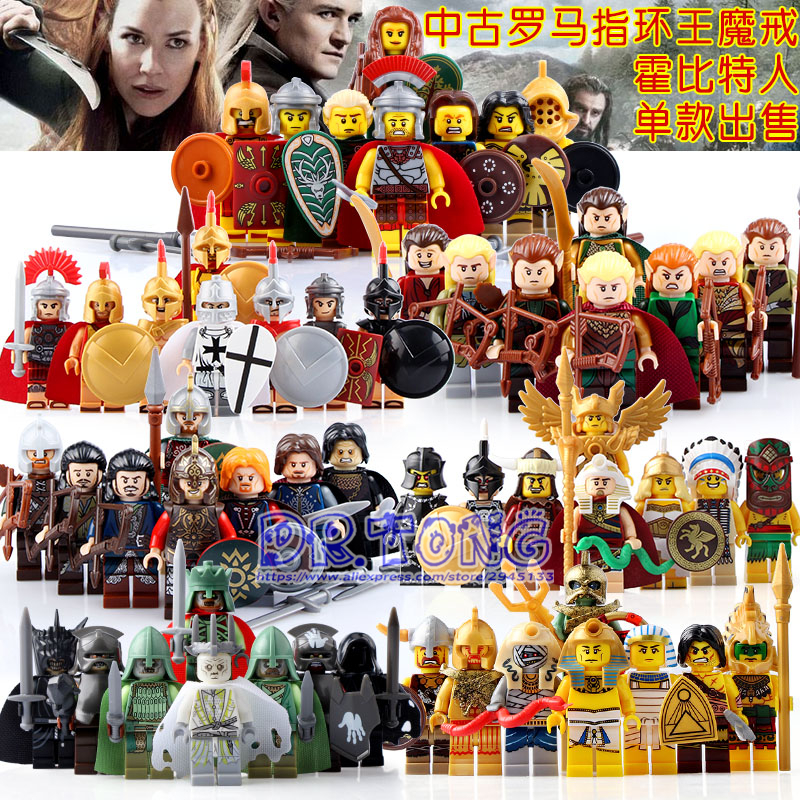 DR.TONG 56PCS Medieval Knights Spartacus Crusader Building Blocks Lord of the Rings Action Figure Bricks Children Toys BR197 spartacus the gladiator