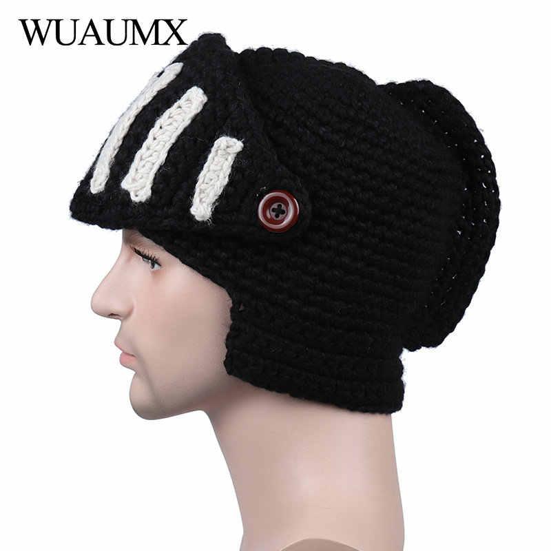 bba58b40824 ... Wuaumx Novelty Roman Hat Winter Beanie Hats For Men Warm Mask Knight  Helmet Knitted Cap Handmade ...