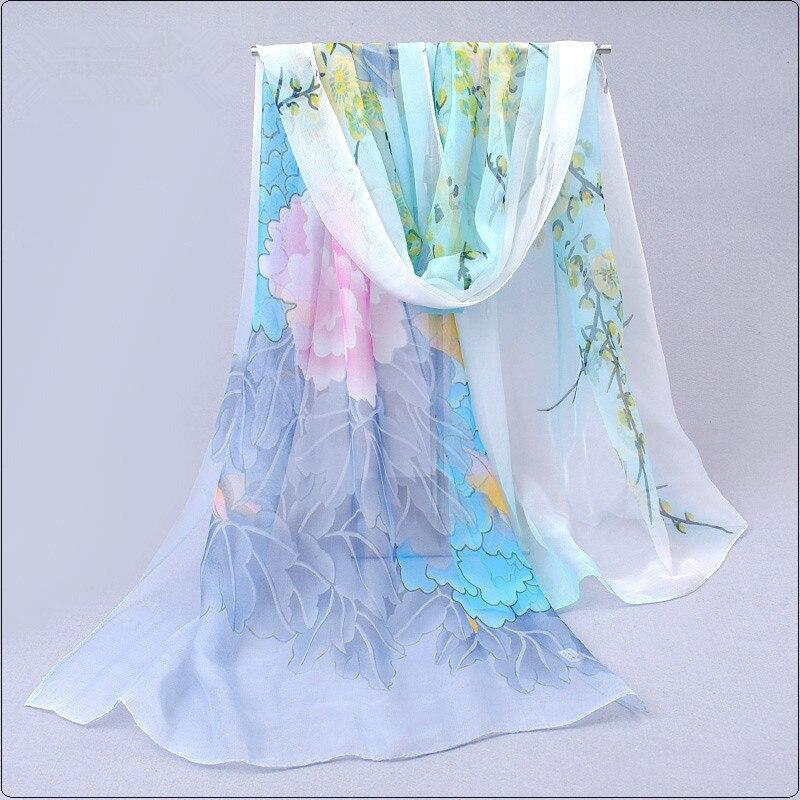 2018 Spring Summer Autumn Women Scarf Printed Flower Foulard Femme Fijab Scarf Chiffon Shawl and Wraps Bufanda Mujer