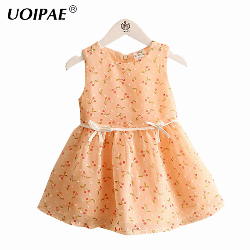 Girls Princess Dress 2018 Summer New Fashion Cherry Printing Dress For Girl Kids Cute Bow Sleeveless Baby Girl Clothes 4923W