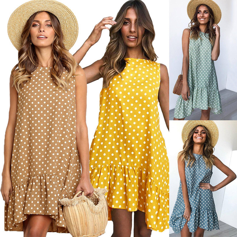 Plus Size Ruffled Vestidos Vintage Women Summer Dress 2020 Loose Mini Casual Dresses Female Sleeveless Blue Polka Dot Dress Dots