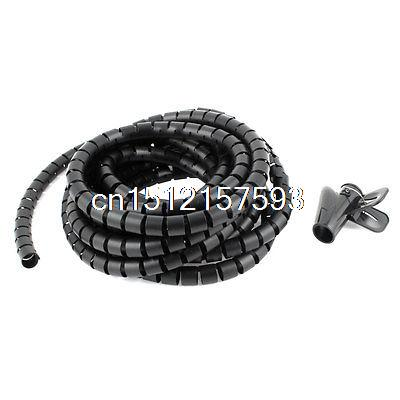 цена на 5m 16.4ft 15mm Inner Dia Black Spiral Bands Cable Organizer Wrap w Wire Clip