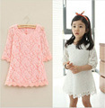 DY086C Children girls Floral princess lace dress summer kids party dresses for girls wedding clothing costume pink white red
