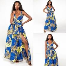 Сексуальное женское многоходовое платье с запахом макси в африканском