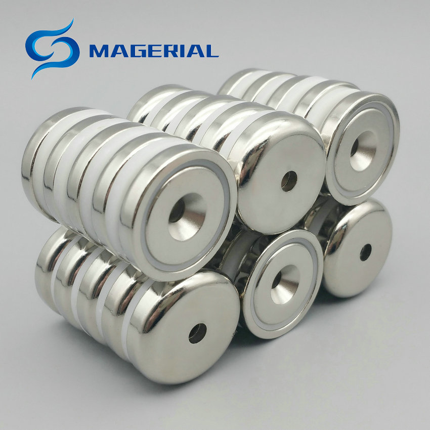 1 pack Mounting Magnet Diameter 32 mm 1.26 Pot Magnet with Countersunk Screw Hole Neodymium Permanent Strong Holding Magnet 4pcs d48mm strong attracting force neodymium magnet pot with a countersunk hole working fixture antenna camera magnetic bases