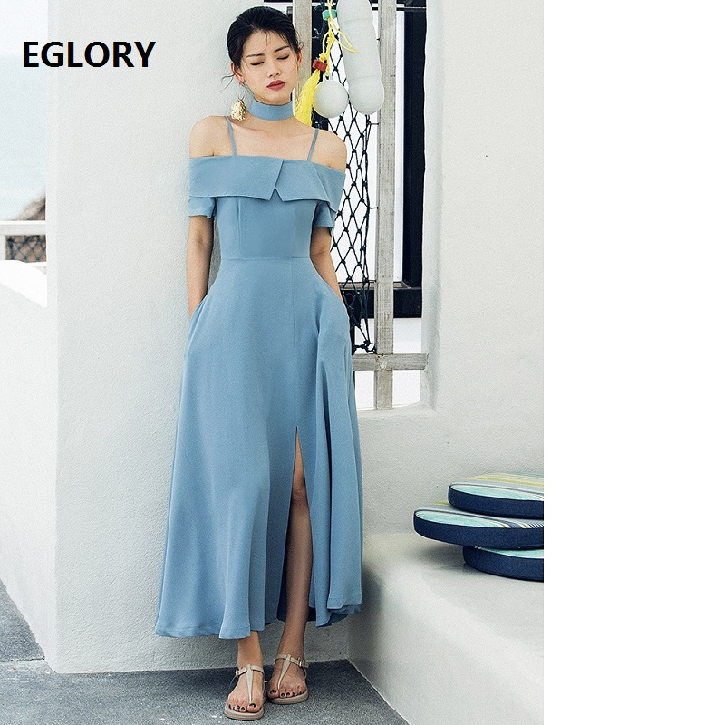 New Brand Fashion Party Evening Long Summer Dress 2018 Women Sexy Slash Neck Ruffles Split Cut Large Swing Blue Maxi Dress Celeb ...