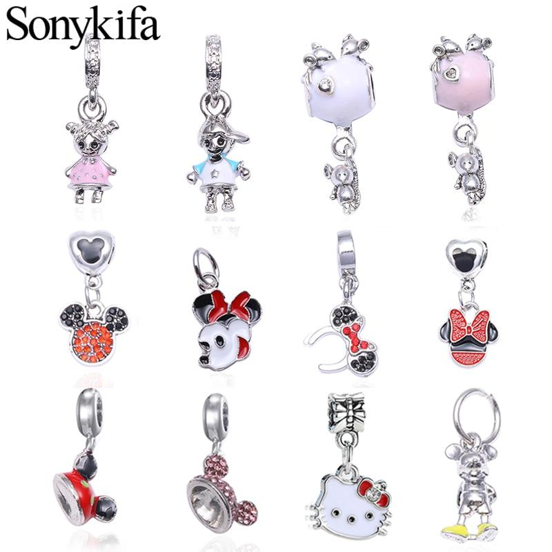 Sonykifa 2Pcs/lot 2019 Cartoon Collection Mickey Minnie Pendant Charm Fits Original Pandora Charm Bracelet DIY Jewelry Berloque