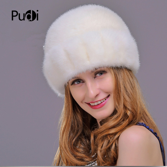 HM015 Real genuine mink  fur hat  Winter hats for women whole piece mink fur hats 1