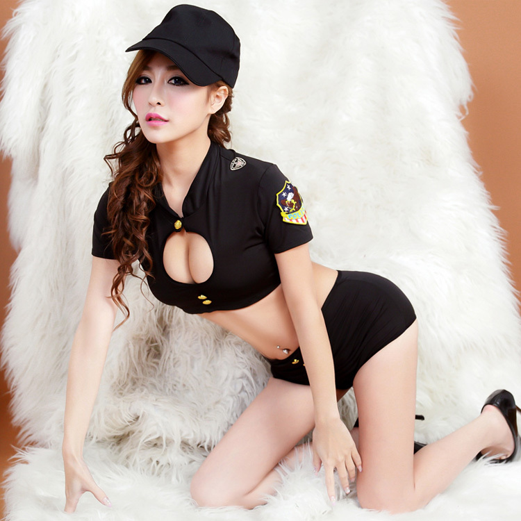 Buy 2015 HOT sexy lingerie  exposed breast uniforms Role play tight black policewomen uniform