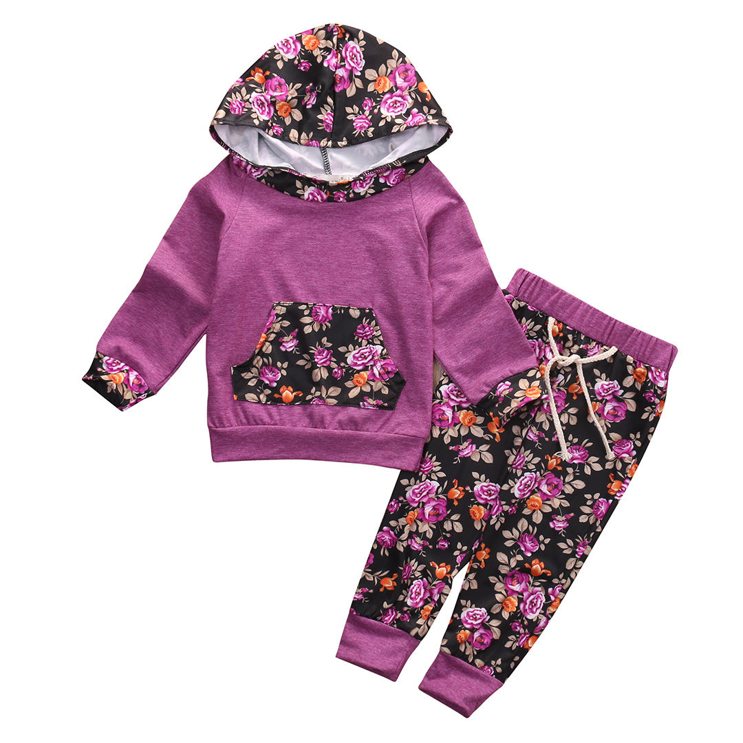 Cute Newborn Baby Girl Clothes Long Sleeve Hooded Tops+Floral Pants 2pcs Sets Cotton Casual Outfits Fashion Baby SetsOutfits Set