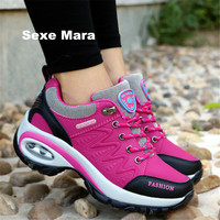 High Quality 2017 Sneakers Women Shoes Running Shoes Woman Leather Sport Shoes Air Damping Outdoor Walking