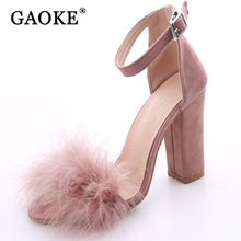 2017 Sexy Women Suede Pumps Open Toe Heels Sandals Woman Sandals Ankle Strap Fur Wedding Shoes Women High Heels Dress Shoes(China)
