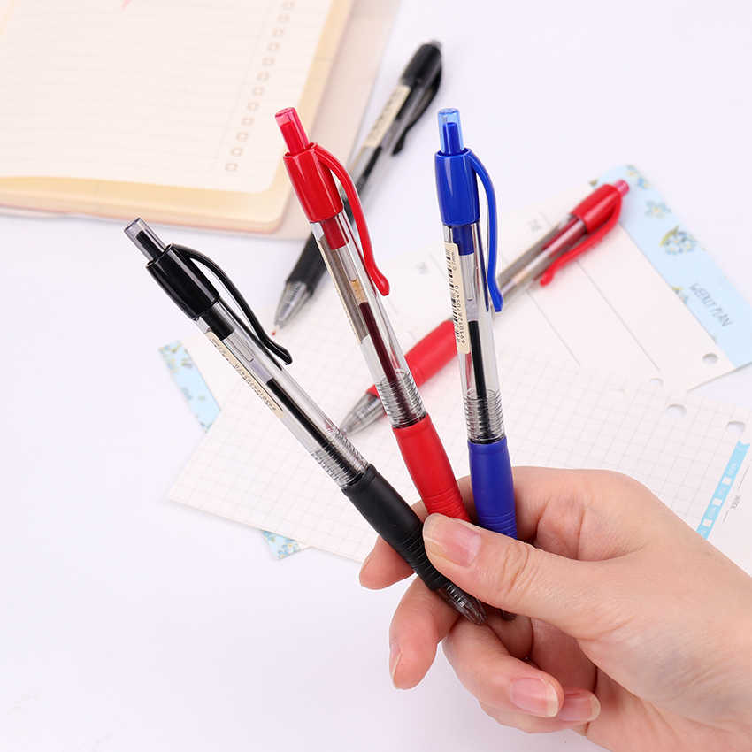 1PC פלסטיק ג 'ל עט אדום כחול שחור ג' ל עט 0.7mm מילוי כתיבת משרד מכתבים תלמיד בחינת עט בית ספר ספקי