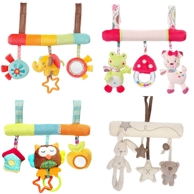 Cute Baby Toys Infant Animal Crib/car/bed Rattles Toys Baby Seat Accessories Animal Baby Mobile Stroller Toys Plush Playing Doll
