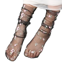 New Hot Women Lace Mesh Fishnet Short Socks 1 Pair Flower Embroidery Short Hosiery Floral Socks 35cm 40cm 2018 Fashion Socks