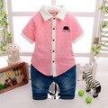 Бесплатная доставка новый набор детские Бренды одежды лето хорошее качество мальчики мода одежда 100% хлопок дизайн Дети рубашка костюм