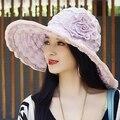 Moda flor de la vendimia de viajes de verano gran sombrero de ala ancha protector solar UV plegable sombrero de playa de las señoras sombrero de paja con la cuerda a prueba de viento D3473