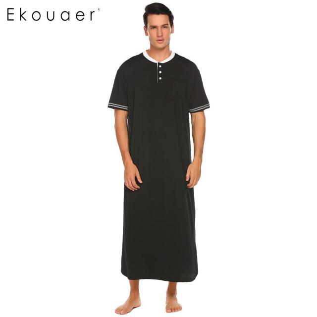 Ekouaer Men Soft Nightshirts Nightewear Short Sleeve Henley Loose Long Sleep Shirt Men Sleepwear Home Clothes Plus Size