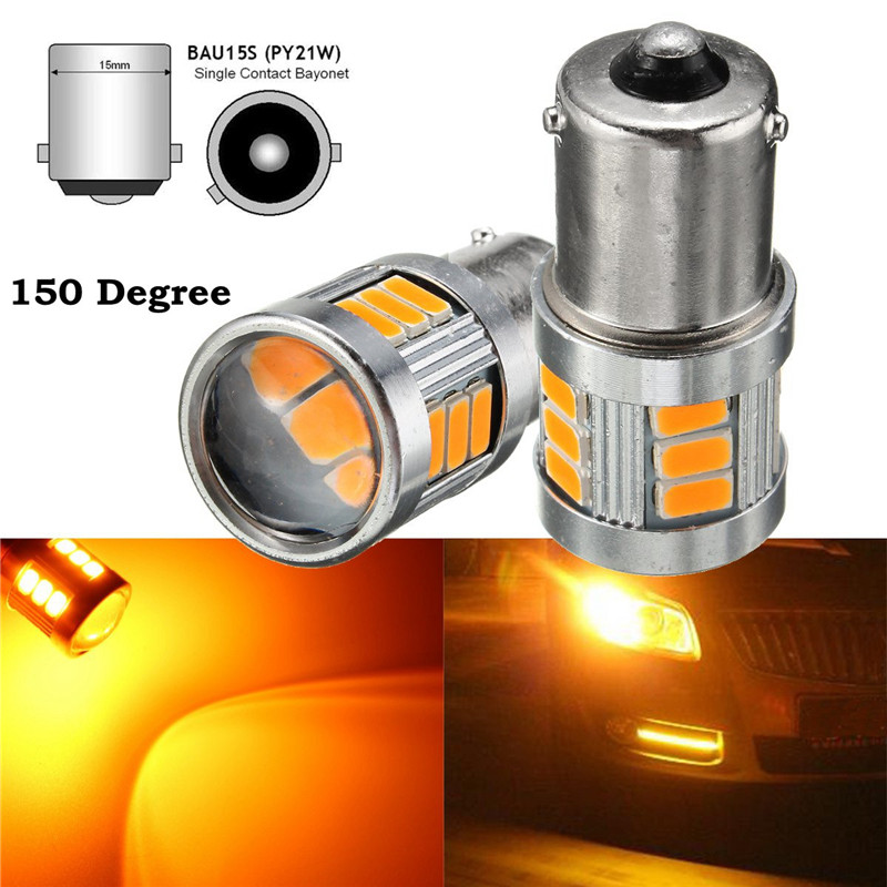 цена на 2x 1156PY 7507 PY21W BAU15S 18 LED 5730 SMD Car Rear Direction Indicator Auto Front Turn Signals Light Blubs Amber Canbus Error