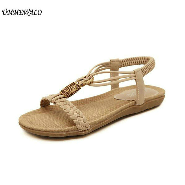 90245603e93a UMMEWALO Sandals Women Casual Thong Sandals String Beed Designer Elastic  Band Ladies Summer Gladiator Sandal Shoes Zapatos Mujer