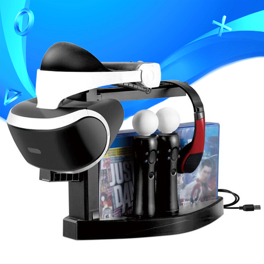 PS VR Storage Bracket Showcase PS4 PS Move Controller Charger Dock Station Game Discs Holder for PSVR CUH-ZVR2 2th Display Stand image