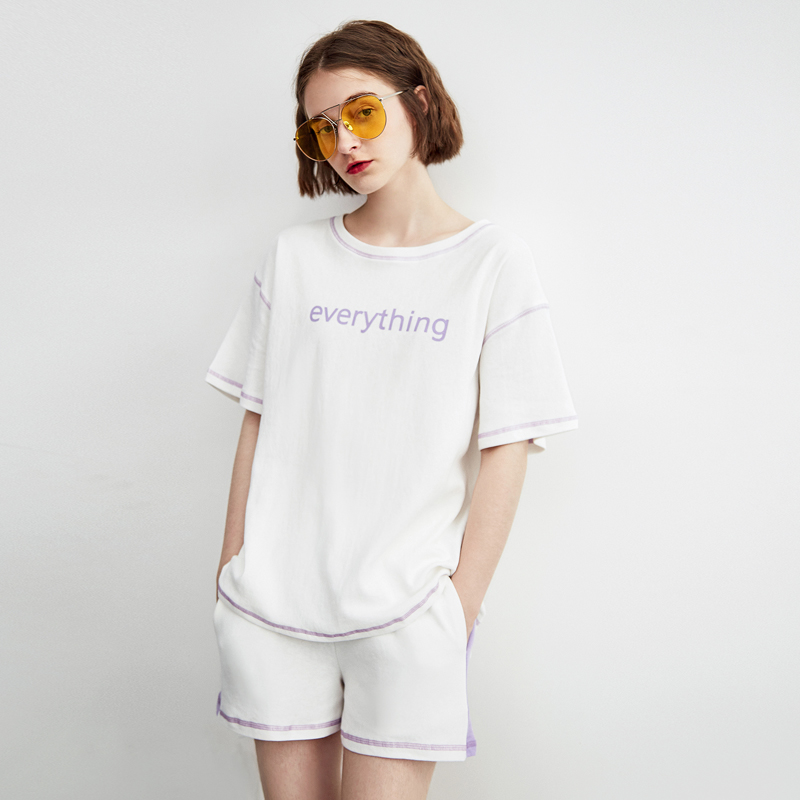 ARTKA Mid year Promotion Time Limited Spike Women Suits Short Sleeve Letter Print Knit Suit Casual