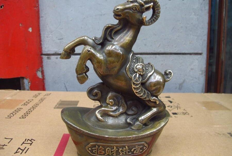 Chinese Feng Shui old Bronze Copper Lucky Wealth YuanBao Zodiac Sheep StatueChinese Feng Shui old Bronze Copper Lucky Wealth YuanBao Zodiac Sheep Statue