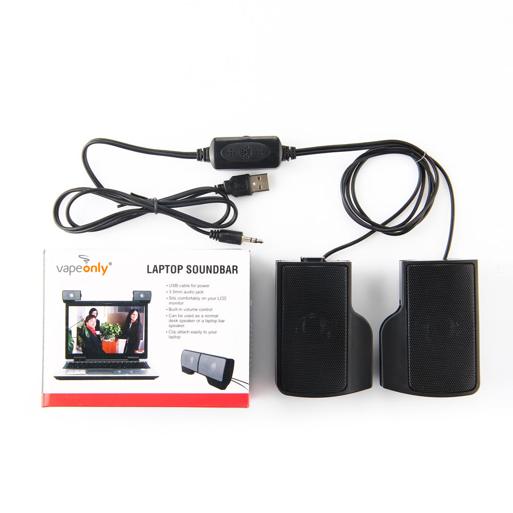 Vapeonly USB Stereo Speakers Portable Clip-on Mini Speaker line Controller Soundbar w/ Clip For PC Laptop Notebook Mp3 Player PC