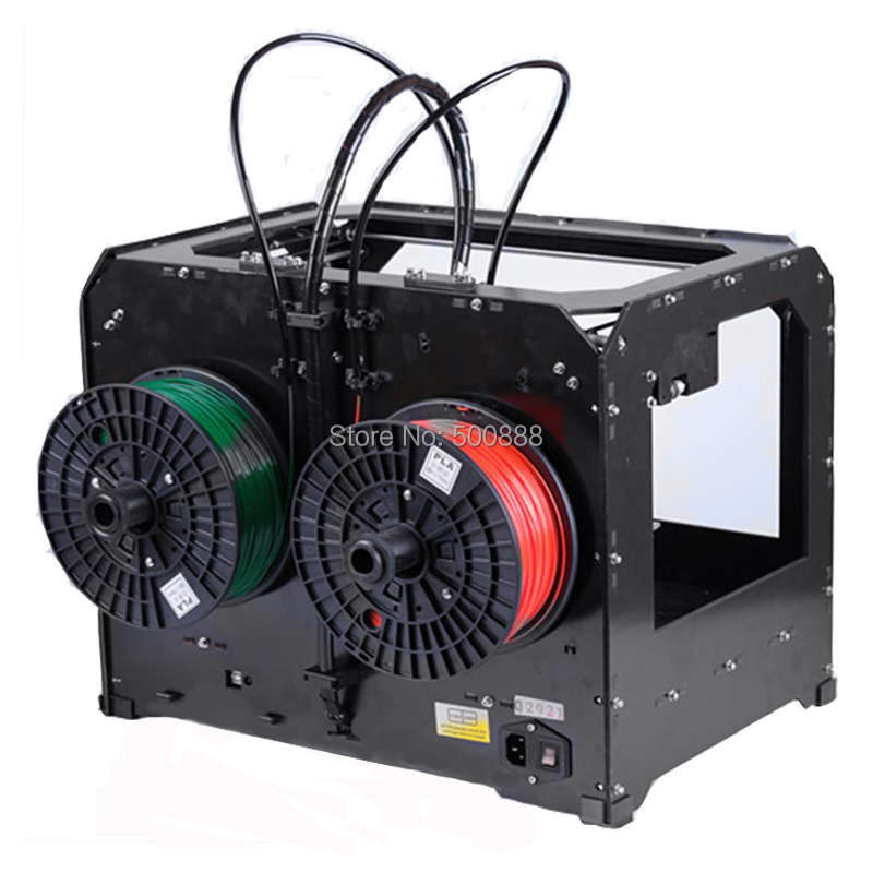 New CTC 3D printer, dual extruder + New Extruder + Dual nozzle / send 1KG Abs or Pla Spools double color m6 3d printer 2017 high quality dual extruder full metal printers 3d with free pla filaments 1set gift