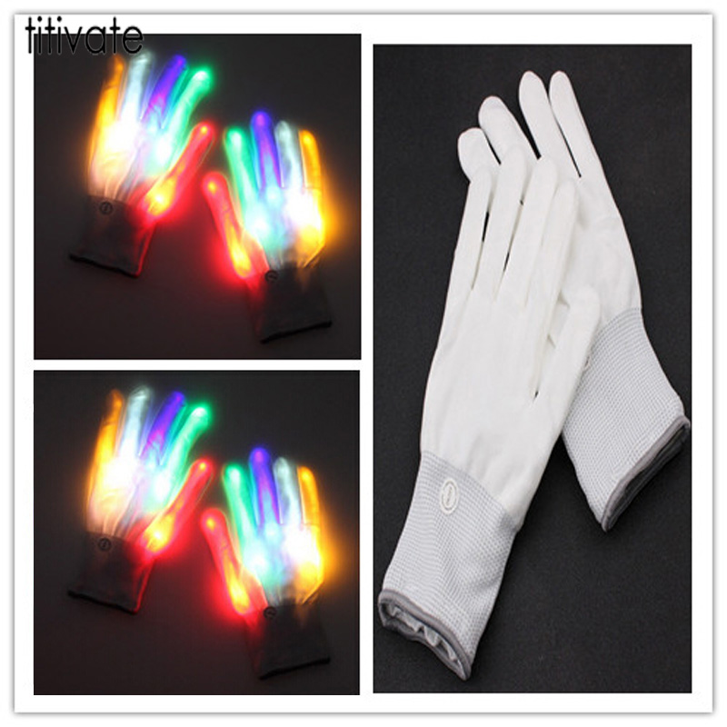 TITIVATE Colorful Magic Glove Rainbow Flash Fingertip Led Gloves Light Up Glow Stick White Gloves Mittens For Unisex Men Women