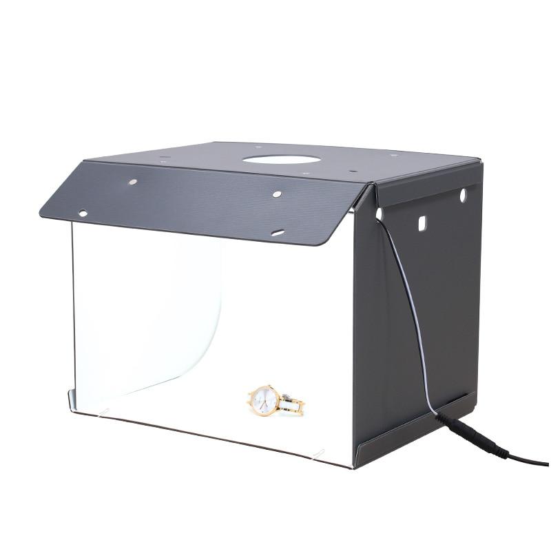 Nouveau SANOTO Mini Photo Studio boîte photographie toile de fond portable Softbox LED lumière Photo boîte pli Photo Studio boîte souple